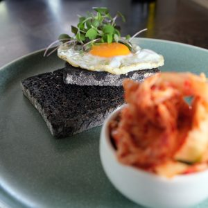 build your own breakfast with kimchi, gluten free nonis charcoal toast